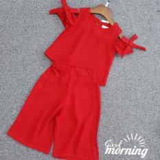 Set Áo Quần Lửng Tơ Sọc bé gái – Màu đỏ (Size 1-12) bé 6 đến 37 kg