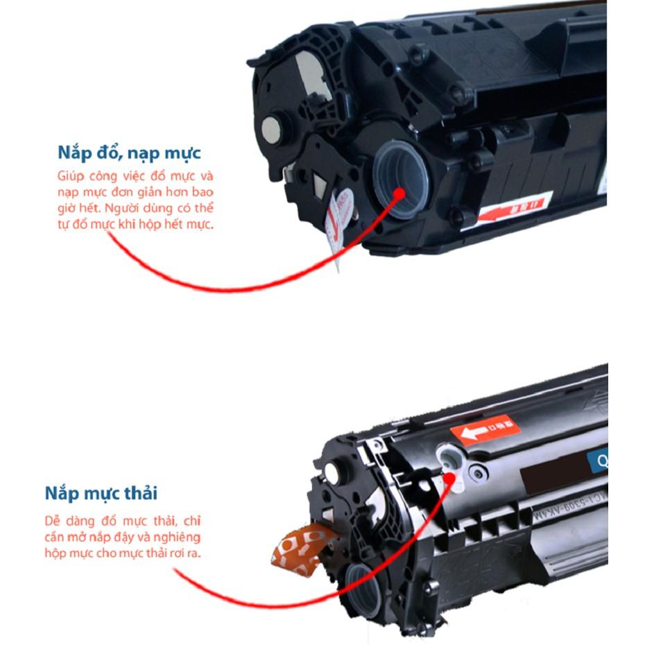 Hộp mực 12a, dùng cho máy in canon 2900 có lỗ đổ mực và lỗ đổ mực thải bên ngoài