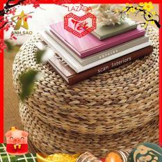 Trang trí nhà cửa Ghế Đôn tròn thấp đan Lục Bình (Đường kính 46 cm x Cao 18 cm) dệt tay tinh xảo bằng lục bình cao cấp Ánh Sao