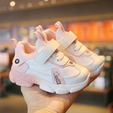 Giày bé trai, bé gái cao cấp màu trắng da cam thoáng khí, siêu nhẹ, chống trơn trượt tốt dành cho bé 1 – 7 tuổi