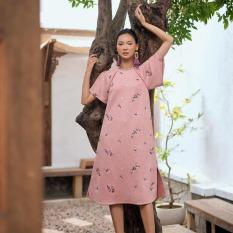 EDINI – Đầm tay phồng da lộn 2 màu