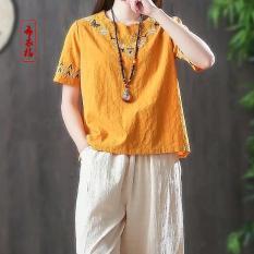 AKira Áo kiểu nữ thêu đẹp cao cấp Vải linen freesizeThời trang phong cách Nhật