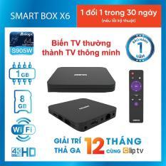 SMART BOX TIVI BOX 4K ASANZO X6 Miễn Phí 12 Tháng ClipTV (CPU Quad-Core Cortext A53, RAM 1 GB, ROM 8 GB, Wifi, Ứng dụng phong phú) – Hàng Phân Phối Chính Hãng Bảo Hành 1 Năm