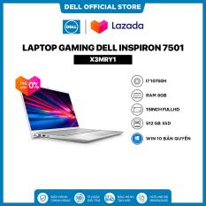 TRẢ GÓP 0%FREESHIP Laptop Dell Inspiron 7501 (X3MRY1) Core i7 10750H 15inch FullHD Ram 8GB 512GB SSD Card Màn Hình NVIDIA GTX1650Ti 4G Win 10 Bản Quyền Silver Bàn Phím Có Đèn