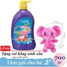 CARRIE JUNIOR-Tắm gội toàn thân cho bé Tinh chất sữa 700 gr + Tặng voi bông ( màu ngẫu nhiên )