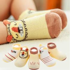 [HCM]Set 5 đôi tất lưới cotton cổ thấp cho bé 0-2 tuổi chống trơn trượt thấm hút mồ hôi hình thú lạ mắt phối màu sắc xinh xắn Baby-S – ST013