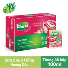 Thùng 48 hộp sữa chua lên men tự nhiên Yomost hương Dâu (48 hộp x 100) – HSD luôn mới
