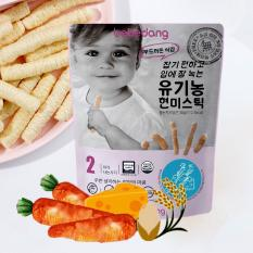 Bánh ăn dặm Organic cho bé – Bánh gạo lứt hữu cơ nhập khẩu Hàn Quốc Bebedang – Phô mai cà rốt hình que