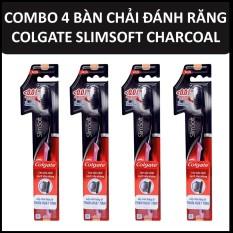 Bộ 4 bàn chải đánh răng Colgate Than hoạt tính kháng khuẩn Slimsoft Charcoal mềm mảnh 4 cây/bộ