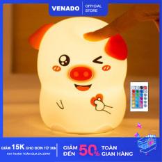 Đèn ngủ Silicone cảm biến đổi màu hình Heo Thả Tim, Heo Nháy Mắt cực đáng yêu Có loại điều khiển từ xa – Venado