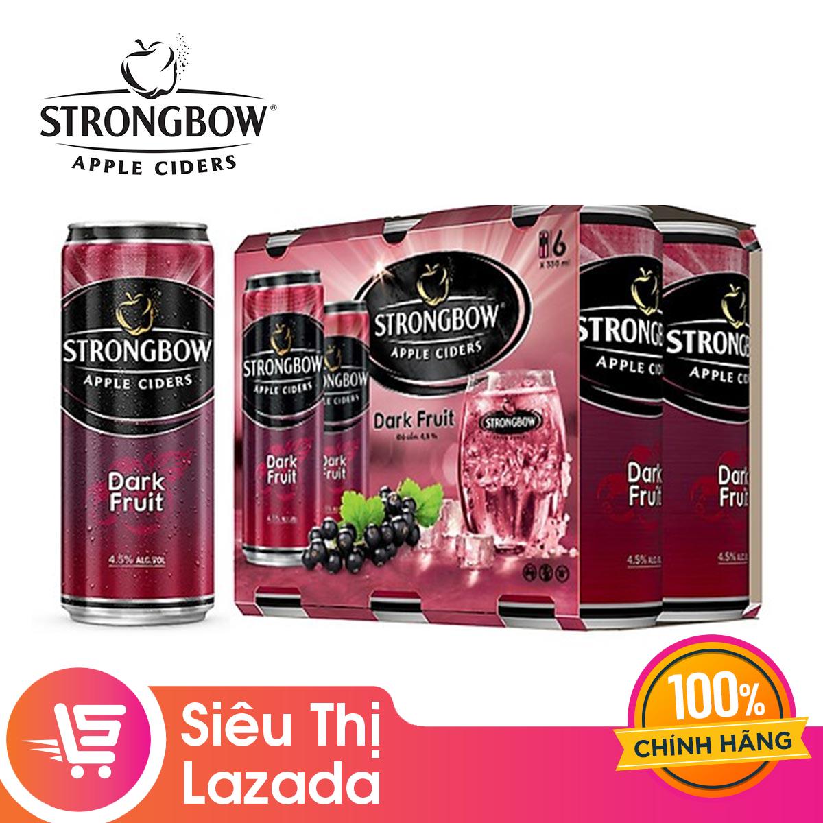 [Quà Tặng Không Bán] Lốc 6 lon nước dâu đen lên men Strongbow 330ml (vị Dark Fruit)