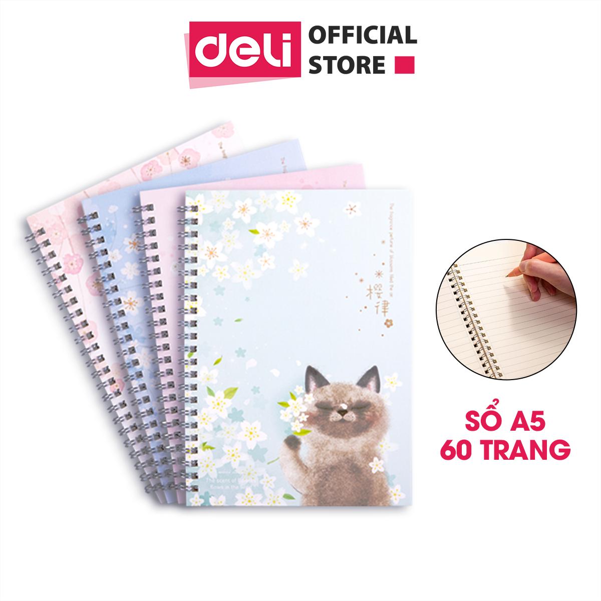 Sổ tay ghi chép A5 gáy xoắn 60 trang Deli – Kẻ ngang – Bìa họa tiết Hoa / Mèo / Cá – mẫu ngẫu nhiên – LA560