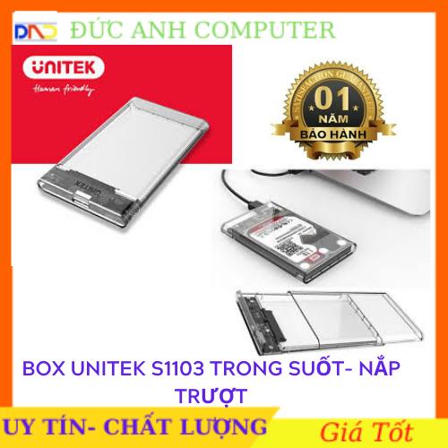 Box UNITEK 2.5 USB 3.0 SATA Unitek S1103A – Trong Suốt – Hãng phân phối- Full Box- Bảo Hành 12 Tháng