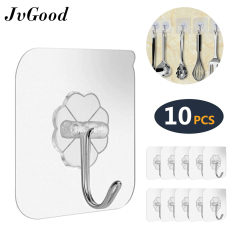 JvGood 10 PCS Magic Hook Without Nails Kitchen Transparent Strong Sticky Heavy Magic Wall Hook Adhesive Hooks