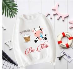 Áo Sweater BÒ SỮA TẶNG in thêm tên vào áo cho bé [giá sĩ+chất đẹp]