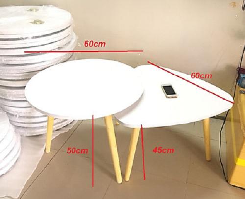 Cặp sofa bàn tròn, tam giác màu trắng (60×45, 60×50)