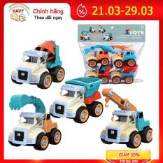 Bộ đồ chơi trẻ em xe kỹ thuật công trình cho bé tự lắp ráp, nhiều màu phát triển thị giác và khả năng thực hành của bé, gồm 4 xe – KAVY
