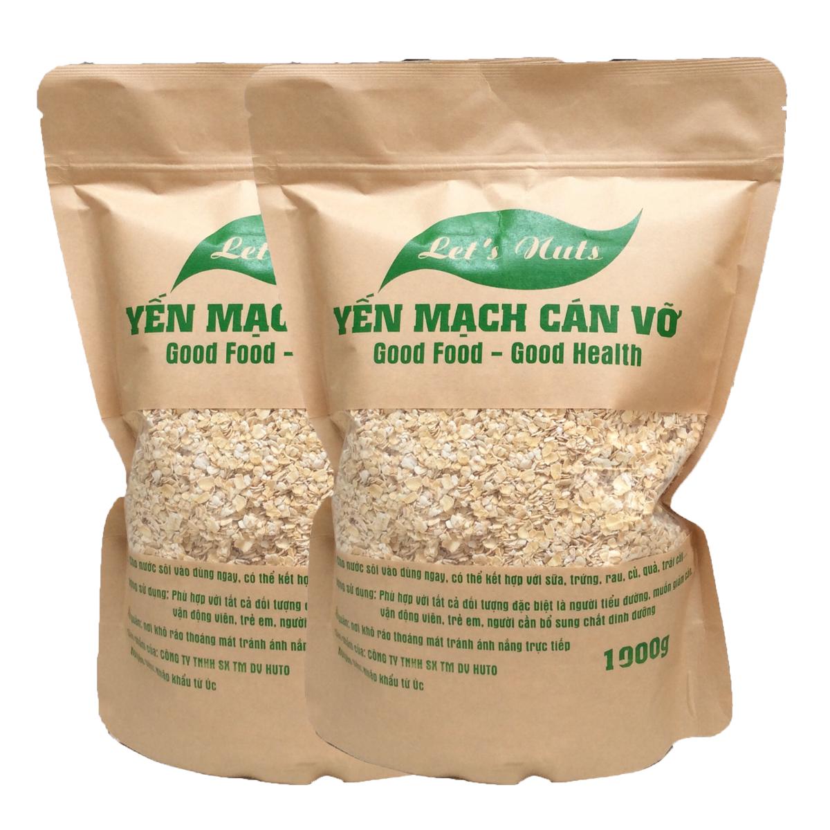 2 gói hạt yến mạch cán vỡ Let's Nuts làm ngũ cốc giảm cân, bột yến mạch, người tập gym, bổ sung chất dinh dưỡng túi 1000g Let Nuts