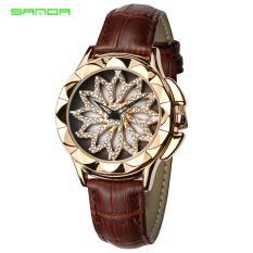 Đồng hồ nữ hoa xoay 360 độ SANDA JAPAN SA211 dây da độc đáo – 4 màu sang trọng