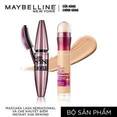 Bộ đôi Mascara dài & tơi mi Lash sensational và Bút che khuyết điểm instant Age Rewind Maybelline tông tự nhiên