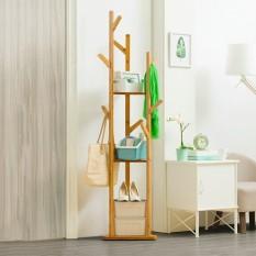 Giá treo quần áo, kệ treo đồ đa năng hình cây gỗ tre