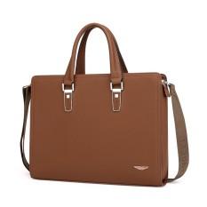 Túi xách công sở cặp da bò đựng laptop khóa số (size: 37x28x5cm. Nâu-Xanh)