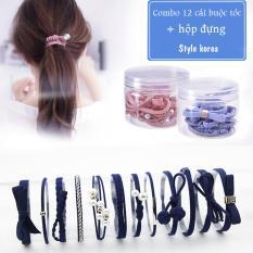 Combo 12 dây cột tóc hàn quốc đính ngọc trai sang trọng dễ thương