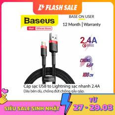 [ Mã giảm giá 60k cho đơn hàng từ 400k ] Cáp sạc Baseus sạc nhanh và truyền dữ liệu tốc độ cao Cafule Lightning cho iPhone/ iPad 2.4A, Sạc nhanh, Siêu bền iPhone 11,11Pro max, XS max….