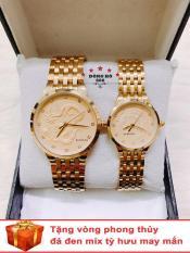 Cặp Đồng hồ đôi nam nữ BAISHUNS dây kim loại thời thượng ( BS6910 dây vàng mặt vàng ) – TẶNG 1 vòng tỳ hưu phong thuỷ