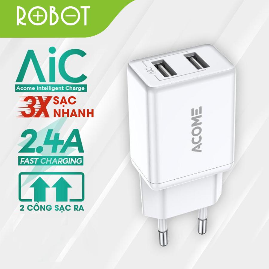 [ Bảo Hành 12 Tháng ] Củ sạc 2 cổng USB ROBOT AC03 sạc nhanh 2.4A tương thích với nhiều dòng điện thoại Android IOS tuổi thọ lâu an toàn khi sạc – Hàng Chính Hãng