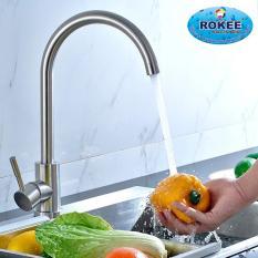 Vòi rửa chén nóng lạnh Inox SUS 304 nguyên khối Rokee – DL112 (Trắng vàng)