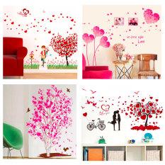 Giấy dán tường 3D chủ đề tình yêu, trái tim hồng đỏ, có sẵn keo, bóc dán dễ dàng trên mọi bề mặt