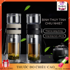 Bình thủy tinh chịu nhiệt pha trà, lọc trà, đựng nước, – Bình thủy tinh tiện lợi an toàn, dung tích 400ml