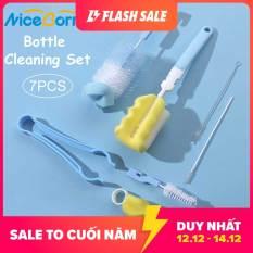 NiceBorn Bộ dụng cụ cọ rửa bình sữa trẻ em, làm từ nhựa ABS thép không gỉ và nylon (7 món) làm bằng nylon bền dễ dàng tháo lắp