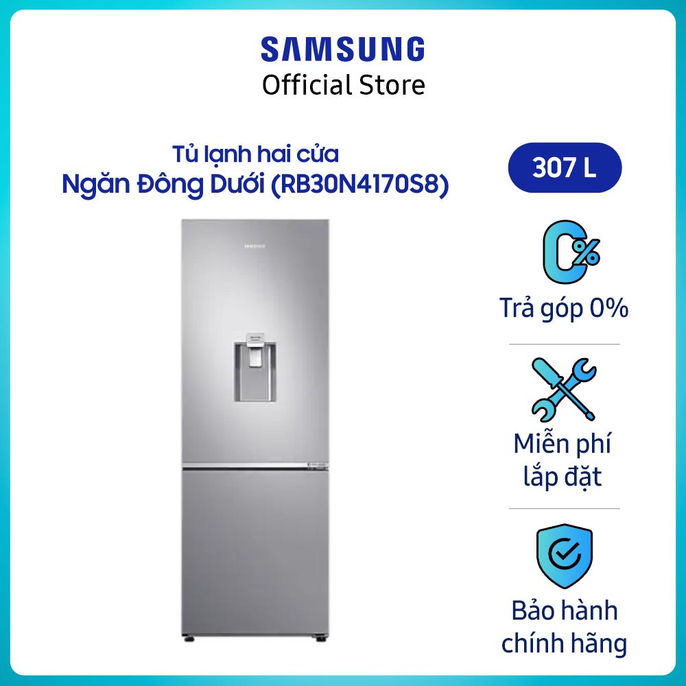 [Freeship toàn quốc tối đa 1tr2 22-31.7]Tủ lạnh 2 cửa ngăn đông dưới Samsung Inverter 307 lít RB30N4170S8/SV – Hàng phân phối chính hãng, tiết kiệm điện