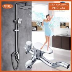 Cây vòi sen tắm đứng AV-913 nóng lạnh inox 304 chống bám vân tay cao cấp sen bát sen vuông – Nhập khẩu Ý ( Trắng Bạc )