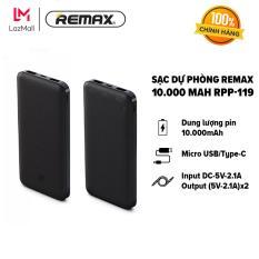 [HÀNG CHÍNH HÃNG – BẢO HÀNH 12 THÁNG 1 ĐỔI 1] Sạc dự phòng Remax 10.000 mAh – Micro USB/Type-C- Hỗ trợ sạc nhanh – Input DC-5V-2.1A/Output (5V-2.1A)x2 RPP-119