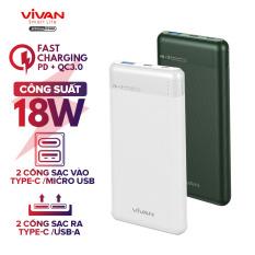 Pin Sạc Dự Phòng 10000mAh VIVAN VPB-M10 2 Input 2 Output Sạc Nhanh PD/QC 3.0 Công Suất 18W Thiết Kế Vân Nhám Cao Cấp – BH 12 THÁNG 1 ĐỔI 1