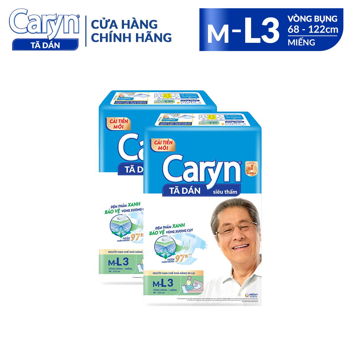 Tã Dán Caryn size ML 3 miếng – Phân loại: 1 gói/ 2 gói Dành Cho Người Hạn Chế Khả Năng Vận Động