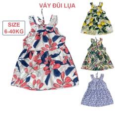 Váy bé gái cổ yếm họa tiết mùa hè đầm cho bé từ 2 đến 12 tuổi chất lụa hàn, size đại 40kg