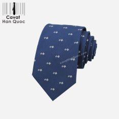 Cà vạt xanh than chấm thoi xanh nhạt cao cấp
