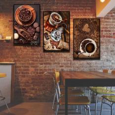 Bộ 3 tranh canvas 40x60cm CAFE kèm Khung Viền 3D Nổi Bật – Khung Hình Phạm Gia PGTK480