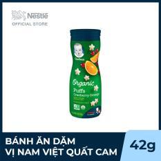 Bánh ăn dặm Gerber Organic Puffs hình ngôi sao Vị Nam Việt Quất Cam – Hộp 42g