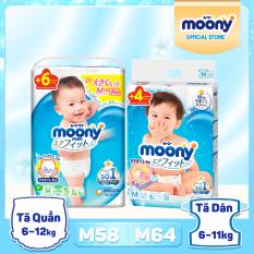 [SIZE M] [Tặng 6 miếng thêm] Tã/ bỉm cao cấp Moony size M – Phân Loại: Tã dán/ Tã quần