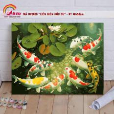 Tranh tự tô màu sơn dầu số hóa DIY động vật – Mã DV0628 Liên niên hữu dư Tranh Cá chép Cá Koi Trang trí Phòng khách Làm quà tặng Giảm Stress Đem lại may mắn