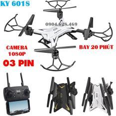 [Bộ 03 pin] Flycam KY601S Pin bay 20 phút, Cánh Gập Camera WIFI FPV Full HD 1080p Truyền Hình Ảnh Về Điện Thoại. Flycam pin trâu. flycam giá rẻ. Máy bay không người lái