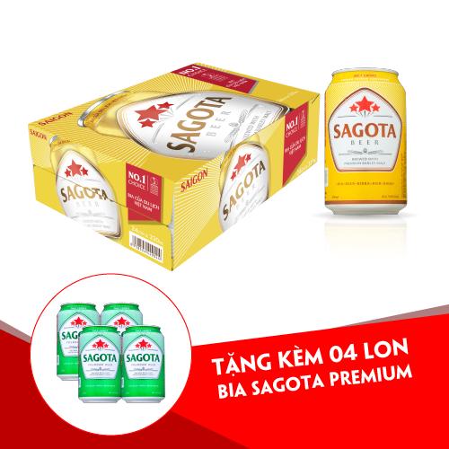 [TẶNG 4 LON BIA XANH] KHI MUA BIA SAGOTA GOLD – THÙNG 24 LON/330ML (DATE 14/01/2021)