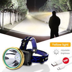 Outtobe Rechargeable LED Headlight IPX4 Waterproof Adjustable Light Headlamp Flashlight Camping Fishing Outdoor Hiking Headlamp Head Lamp Head Light with USB Charging Cable for Running Fishing Wild Adventure