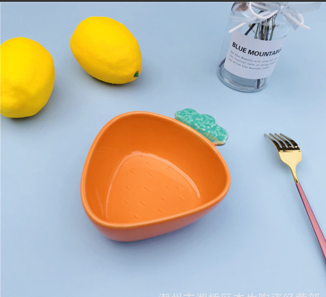 Bát gốm sứ tráng men hình củ carot