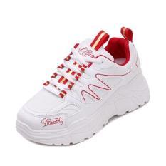 Giày thể thao Ulzzang cho nữ viền sóng 2 màu Đen Đỏ dễ phối đồ cho mọi trang phục